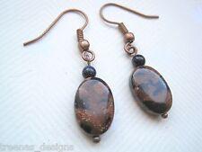 OVAL TAN & BLUE GOLDSTONE BEAD Sparkle Gemstone COPPER Drop Earrings Gift Bag