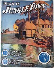 "1908 ""DOWN IN JUNGLE TOWN"" SHEET MUSIC - MONKEY ANIMAL LARGE FORMAT"