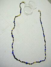 """Eyeglass Holder, Blue, Black, & Gold Beads, 24"""", New"""