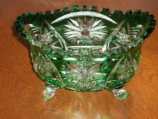 "Emerald Green CUT To Clear, 7""OVAL Candy Boat BOWL,4 Feet,Footed, Saw Tooth Edge"