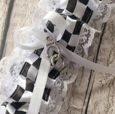 Plus size Police Wedding Garter Handcuffs Charm Little Blue Bow 40inch streched