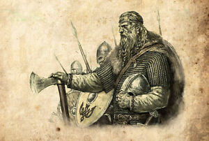 Framed Print - Viking Warriors Vintage Style Pencil Sketch (Picture Poster Art)