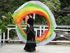 "1pc 2.3m*0.9m(90""x35"") light Rainbow B belly dance silk veil poi, steel chain"