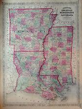 JOHNSON'S ARKANSAS MISSISSIPPI LOUISIANA incisione 1866 cartina STATI UNITI  MAP
