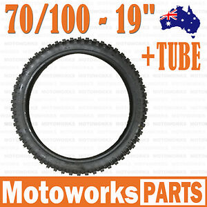"""70/100 - 19"""" inch Front Knobby Tyre Tire + Tube PIT PRO BIGFOOT Trail Dirt Bike"""