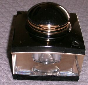 Montblanc Meisterstuck Tintenglass Inkwell-- Black Resin, Crystal, Gold Accents