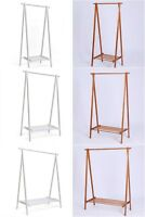 Wood Clothes Rail Stand Wardrobe Shoe Shelves Storage Rack 3 Size 2 Colours