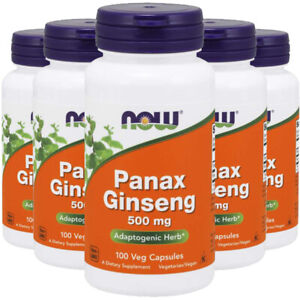 Panax Ginseng 500mg 5X100 or 2X250 Caps NOW Foods Kosher 1000mg per 2 Caps