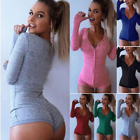 Womens Long Sleeve Tops Bodysuit Jumper Bodycon Bandage Jumpsuit Short Romper