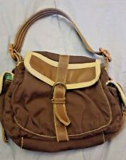 GAP JEANS Brown Purse Shoulder Bag Handbag Leather Trim Satchel Hobo WORLD SHIP