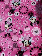 Disney Minnie mouse pink floral toss 100% Cotton Fabric per half yard 18x44inch