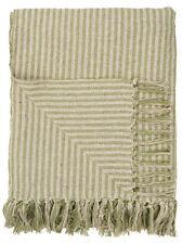 Ib Laursen Plaid Vert Clair Crème Rayures Couverture Couverture Couvre-Lit Coton