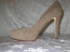 NEW !! KATE SPADE Womens TAUPE SPARKLE Beige Tan PLATFORM STILETTOS Shoes 10
