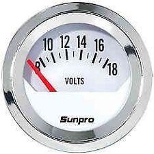 sunpro,chrome 2''volt  gauge  rat rod race  circle track ford mopar chevy