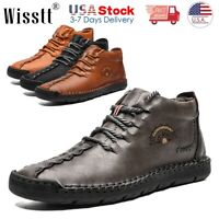 Men's Leather Casual Shoes Breathable Driving Loafers Moccasins Boots Hiking USA