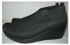 """PAVERS BLACK LEATHER AND TEXTILE WRAP ACROSS SLIP ONS WITH 2.5"""" WEDGE SIZE 6 UK"""