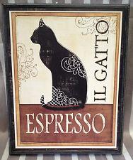 2 x PRINTS Espresso & Cafe Noir  Wall Art Cat pictures 38cm  REDUCED RRP $78