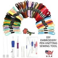 Magic Embroidery Pen Knitting Sewing Tool Kit Punch Needle Set W/50 Color Thread