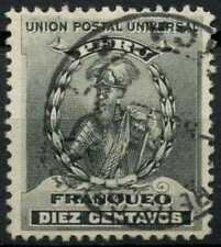 Peru 1896-1900 SG#343, 10c Black, Pizarro Used #E1280