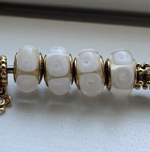 Pandora Retired 14K Gold White Mystic Calla Murano Glass Charm