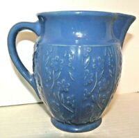 "Vintahe Pitcher Blue Pottery Embossed USA 6"" Tall Floral Shabby Farmhouse Decor"