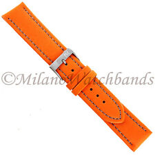 20mm Morellato Lorica Orange Silver Stitch Synthetic Leather Mens Watchband 2195