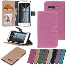 For Alcatel Sony HTC Smart Phone Wallet ID Card Matte Leather Case Cover Skin DK