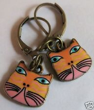 CAT FACE YELLOW & PINK ENAMEL CHARM BRASS TONE EARRINGS FOR PIERCED EARS