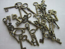 30 antique bronze skeleton keys wedding steampunk vintage pendants charms fancy
