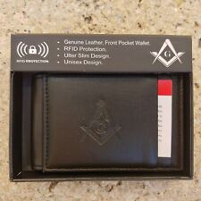 Masonic Black Leather Magnetic Fold Wallet Mason Embossed Square and Compass NEW