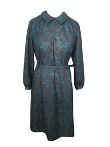 Vintage Size 20 1980s Green Paisley Long Sleeved Midi Tea Dress Made in England