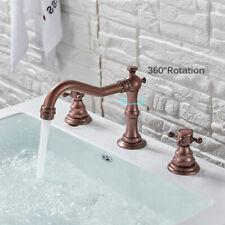 2Handle Swivel Spout Basin Vanity Faucet Bathroom Sink Mixer Tap Antique Copper
