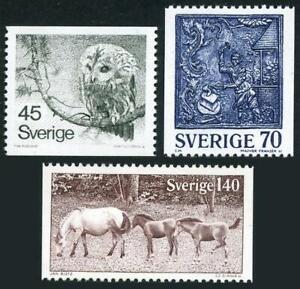 Sweden 1212-1214,MNH.Michel 991-993. Owl,Cast-iron Stone,Ponies,1977