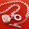 Necklace Chain Real 925 Sterling Silver S/F Solid Link Antique Bag T'bar Design