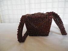 Lovely vintage brown beaded box purse handbag