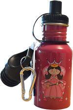 Pink Princess Sports Water Bottle Stainless Steel Carabiner BPA Free Girls Kids