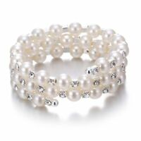 Women Fashion Multilayer Pearl Crystal Rhinestone Bangle Bracelet Jewellery Gift