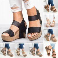 UK Women Ankle Strap Open Toe Sandals Platform Wedge Heel Slingback Summer Shoes