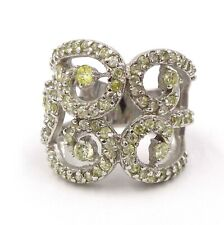 Sterling Silver Large Vintage Cubic Zirconia Lace Curls Ornament Ring SZ 7