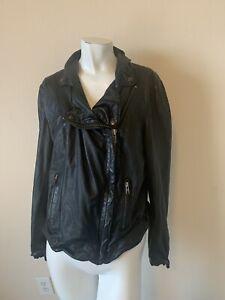 Muubaa Womens Black Leather Distressed Asymmetrical Moto Jacket 10