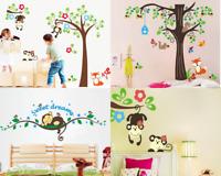 4x Animal Wall Sticker Set – Jungle Tree Monkey Baby Nursery Decal Kid Removable