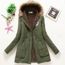 Women's Winter Warm Hooded Coat Windproof Faux Fur Parka Jacket Trench Outwear
