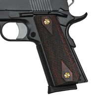 1911 Rosewood Slim Grips Full Size Checker Diamond Cut Screw Free CoolhandH1S-DC