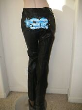 ESCADA $2900 NWT AUTHENTIC ADORABLE GRAFITII LEATHER PANTS 38 8 SMALL VERY RARE