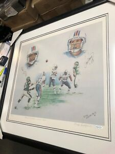 MIAMI DOLPHINS MARK CLAYTON & DAN MARINO DUAL SIGNED LITHOGRAPH FRAMED UDA CERT