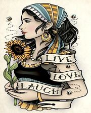 ROMANY GYPSY TRAVELLER GIRL LIVE LOVE LAUGH METAL PLAQUE SIGN OTHERS LISTED N106