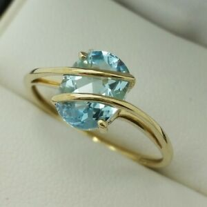 9ct Yellow Gold Blue Topaz Ring, Finger Size P 1/2