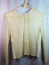 Victoria's Secret Cream Sequined Sheer Button Front Long Sleeve Top Blouse Small