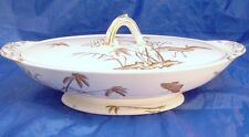 Copeland England 1870s Egret Japanesque Aesthetic Oval Vegetable Bowl with Lid