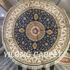 Yilong 5'x5' Circle Hand Knotted Silk Carpets Classic Round Rugs For Sale W118C